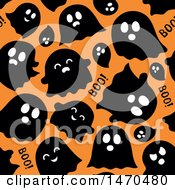 Seamless Ghosts On Orange Halloween Pattern Background