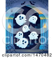 Clipart Of A Group Of Halloween Ghosts In A Haunted Hallway Royalty Free Vector Illustration
