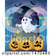 Clipart Of A Halloween Ghost Holding A Lantern Over Jackolantern Pumpkins In A Hallway Royalty Free Vector Illustration by visekart