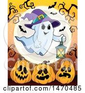 Clipart Of A Halloween Ghost Holding A Lantern Over Jackolantern Pumpkins Royalty Free Vector Illustration