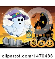 Clipart Of A Halloween Ghost Holding A Lantern Over Jackolantern Pumpkins Near A Haunted House Royalty Free Vector Illustration by visekart