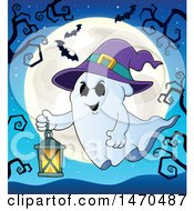 Clipart Of A Halloween Ghost Wearing A Witch Hat And Flying With A Lantern Royalty Free Vector Illustration