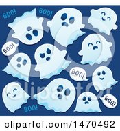 Clipart Of A Group Of Halloween Ghosts Saying Boo On Blue Royalty Free Vector Illustration