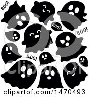 Clipart Of A Group Of Halloween Ghosts In Black And White Royalty Free Vector Illustration