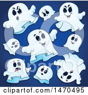 Group Of Halloween Ghosts On Blue
