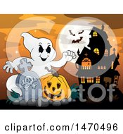 Clipart Of A Halloween Ghost With A Jackolantern In A Graveyard With A Haunted Mansion Royalty Free Vector Illustration by visekart