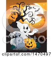 Clipart Of A Halloween Ghost With A Jackolantern In A Graveyard Royalty Free Vector Illustration