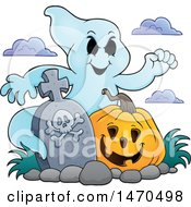 Clipart Of A Ghost With A Halloween Pumpkin In A Graveyard Royalty Free Vector Illustration