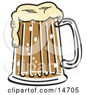 Frothy Mug Of Beer In A Bar Clipart Illustration by Andy Nortnik
