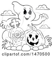 Ghost With A Halloween Pumpkin In A Graveyard Black And White