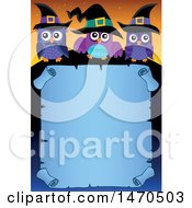Clipart Of A Halloween Scroll With Witch Owls Royalty Free Vector Illustration
