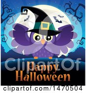 Clipart Of A Happy Halloween Greeting With A Witch Owl Royalty Free Vector Illustration