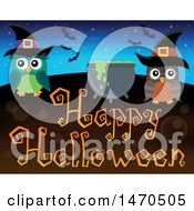 Clipart Of A Happy Halloween Greeting With A Cauldron And Witch Owls Royalty Free Vector Illustration