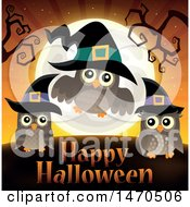 Clipart Of A Happy Halloween Greeting With Witch Owls Royalty Free Vector Illustration by visekart