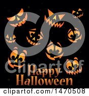 Clipart Of A Happy Halloween Greeting With Jackolantern Faces On Black Royalty Free Vector Illustration