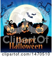 Clipart Of A Happy Halloween Greeting With Jackolanterns And A Full Moon Royalty Free Vector Illustration