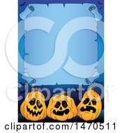Clipart Of A Halloween Scroll Bordered With Blue And Jackolanterns Royalty Free Vector Illustration