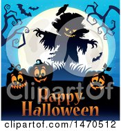 Clipart Of A Halloween Scarecrow And Full Moon Over Jackolanterns And Text Royalty Free Vector Illustration by visekart