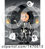 Clipart Of A Group Of Halloween Ghosts And Man In A Skeleton Costume In A Haunted Hallway Royalty Free Vector Illustration