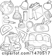 Poster, Art Print Of Black And White School Items