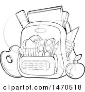 Backpack Stuffed With Supplies In Black And White