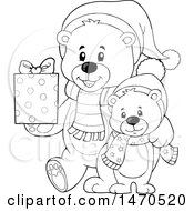 Clipart Of A Father And Son Teddy Bear Carrying A Christmas Gift Royalty Free Vector Illustration