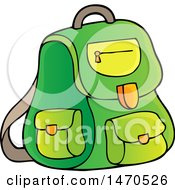 Clipart Of A Green Backpack Royalty Free Vector Illustration by visekart