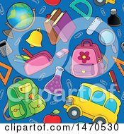 Clipart Of A Back To School Seamless Background Pattern Royalty Free Vector Illustration by visekart