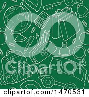Clipart Of A Chalkboard Back To School Seamless Background Pattern Royalty Free Vector Illustration