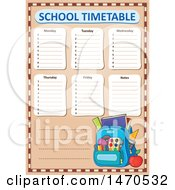 Poster, Art Print Of School Timetable With A Backpack
