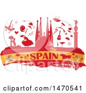 Clipart Of A Spain Flag And Silhouetted Icons Royalty Free Vector Illustration