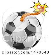 Clipart Of A Soccer Ball Bomb With A Lit Fuse Royalty Free Vector Illustration