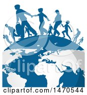 Clipart Of A Blue Globe With Silhouetted Immigrants Royalty Free Vector Illustration