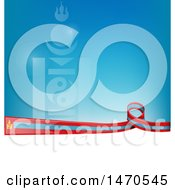 Clipart Of A Mongolia Flag Ribbon Over White And Blue With Symbols Royalty Free Vector Illustration