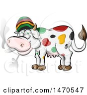 Clipart Of A Jamaican Rasta Cow Smoking A Joint Royalty Free Vector Illustration