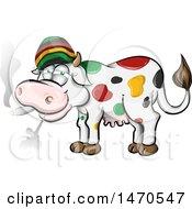 Poster, Art Print Of Jamaican Rasta Cow Smoking A Joint