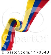 Clipart Of A Diagonal Colombia Flag Ribbon On White Royalty Free Vector Illustration