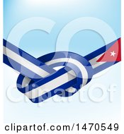 Clipart Of A Knotted Cuban Ribbon Flag Over Blue Royalty Free Vector Illustration