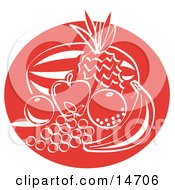 Fruit Still Life With A Watermelon Pineapple Apple Orange Lemon Grapes And Banana Clipart Illustration