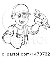 Lineart Happy Male Mechanic Holding A Spanner Wrench And Giving A Thumb Up