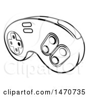 Clipart Of A Lineart Video Game Controller Royalty Free Vector Illustration by AtStockIllustration