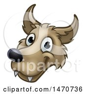Clipart Of A Wolf Face Mascot From The Three Little Pigs Story Royalty Free Vector Illustration by AtStockIllustration