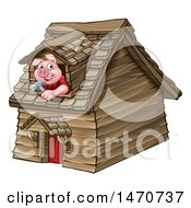 Clipart Of A Piggy From The Three Little Pigs Fairy Tale Looking Out The Window In His Wood House Royalty Free Vector Illustration by AtStockIllustration
