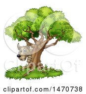 Clipart Of The Bad Wolf Peeking From Behind A Tree The Three Little Pigs Story Royalty Free Vector Illustration