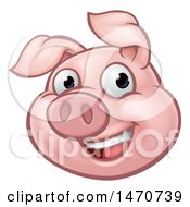 Clipart Of A Happy Pig Mascot Royalty Free Vector Illustration by AtStockIllustration