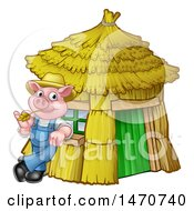 Piggy From The Three Little Pigs Fairy Tale Leaning Against His Straw House