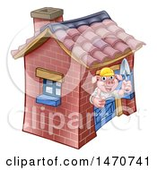 Clipart Of A Piggy From The Three Little Pigs Fairy Tale Giving A Thumb Up In His Brick House Royalty Free Vector Illustration