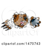 Poster, Art Print Of Vicious Aggressive Bear Mascot Slashing Through A Wall With A Bowling Ball In A Paw