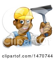 Clipart Of A Happy Black Male Window Cleaner Pointing And Holding A Squeegee Royalty Free Vector Illustration by AtStockIllustration