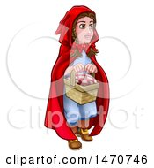 Clipart Of A Girl Little Red Riding Hood Holding A Basket Royalty Free Vector Illustration by AtStockIllustration
